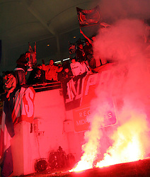 PSG Supras light flares before the match between Toulouse v Paris St Germain,French Ligue 1, Stade Municipal, Toulouse, France, 22nd March 2009.