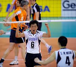 09-07-2010 VOLLEYBAL: WLV NEDERLAND - ZUID KOREA: EINDHOVEN<br /> Nederland verslaat Zuid Korea met 3-1 / Tae Woong Choi<br /> ©2010-WWW.FOTOHOOGENDOORN.NL