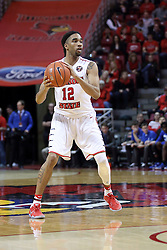20 January 2017:  Tony Wills(12) during an NCAA Missouri Valley Conference mens basketball game Where the Purple Aces of Evansville lost to the Illinois State Redbirds 75-73 in Redbird Arena, Normal IL