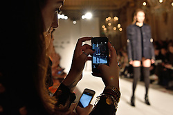 © Licensed to London News Pictures. 19/02/2016. Model on the catwalk at the PAUL COSTELLO Autumn/Winter 2016 presentation. Models, buyers, celebrities and the stylish descend upon London Fashion Week for the Autumn/Winters 2016 clothes collection shows. London, UK. Photo credit: Ray Tang/LNP