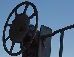 detail of a wheel on a rusted train