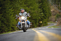 JEROME A. POLLOS/Press..Dave Cazel, with the Kootenai County chapter of American Bikers Aiming Towards Education, is helping coordinate Saturday's motorcycle awareness parade along Sherman Avenue.