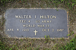 31 August 2017:   Veterans graves in Park Hill Cemetery in eastern McLean County.<br /> <br /> Walter I Hilton TEC4 US Army World War II Apr 8 1919  Oct 2 1987