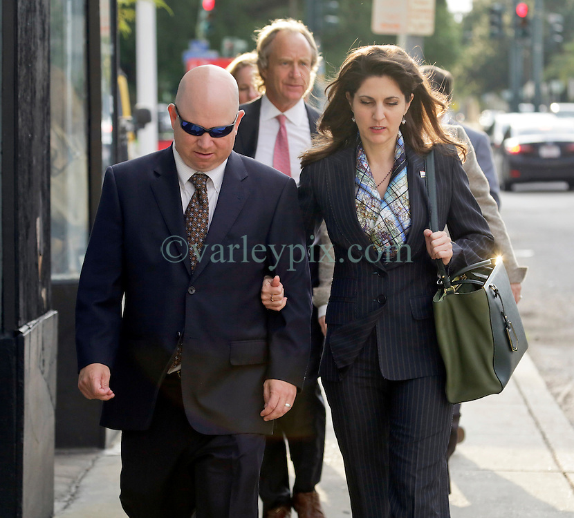 01 June  2015. New Orleans, Louisiana. <br /> Rita Benson LeBlanc and her brother Ryan LeBlanc leaving a court hearing to determine the competency of their grandfather Tom Benson. Benson is the billionaire owner of the NFL New Orleans Saints, the NBA New Orleans Pelicans, various Mercedes dealerships, banks, property assets and a slew of business interests. Rita, her brother and mother demanded a competency hearing after Benson changed his succession plans and decided to leave the bulk of his estate to third wife Gayle, sparking a controversial fight over control of the Benson business empire.<br /> Photo&copy;; Charlie Varley/varleypix.com