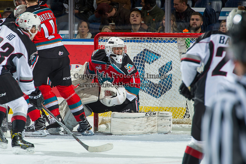KELOWNA, CANADA - NOVEMBER 10: James Porter #1 of the Kelowna Rockets defends the net against the Vancouver Giants on November 10, 2017 at Prospera Place in Kelowna, British Columbia, Canada.  (Photo by Marissa Baecker/Shoot the Breeze)  *** Local Caption ***