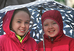 Katie and Chloe O'Grady at the Streets of Westport 5K run on New Year's Day.<br /> Pic Conor McKeown