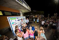 Winner Constant Lestienne (FRA) in press corner after the Trophy ceremony after the Final Singles match at Day 9 of ATP Challenger Zavarovalnica Sava Slovenia Open 2018, on August 11, 2018 in Sports centre, Portoroz/Portorose, Slovenia. Photo by Vid Ponikvar / Sportida