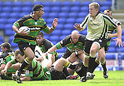 19/05/2002.Sport -Rugby Union- Zurich Championship Quarter final.London Irish v Northampton.Andrew Blowers breaks with the ball ..[Mandatory Credit, Peter Spurier/ Intersport Images].