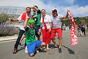 Poland and Northern Ireland fans together during the Euro 2016 match between Poland and Northern Ireland at the Stade de Nice, Nice, France on 12 June 2016. Photo by Phil Duncan.