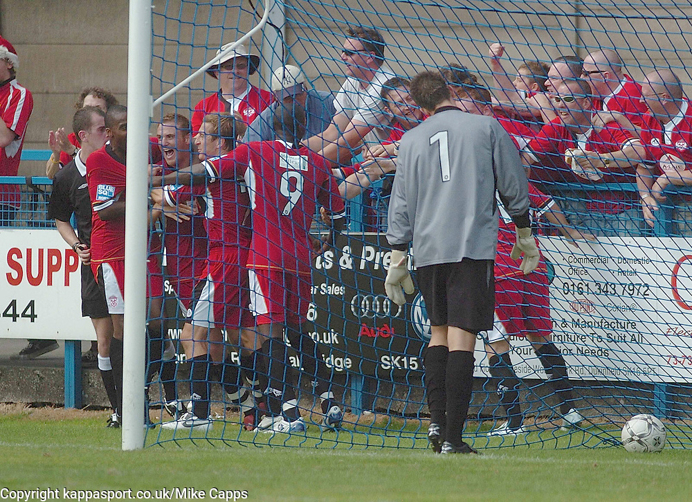 BRETT SOLKHON Kettering Town, celebrates his goal  with traveling Kettering Fans at Stalybridge, Stalybridge Celtic - Kettering Town, Blue Square Conference North 11/8/2007