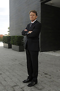 Swiss Ambassador to the United States of America, Manuel Sager outside the Steven Holl designed residence at the Swiss Embassy in Washington DC.