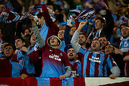 Trabzonspor's supporters celebrate goal for Trabzonspor during the UEFA Europa League Group J football match between Legia Warsaw and Trabzonspor AS at Pepsi Arena Stadium in Warsaw on November 07, 2013.<br /> <br /> Poland, Warsaw, November 07, 2013<br /> <br /> Picture also available in RAW (NEF) or TIFF format on special request.<br /> <br /> For editorial use only. Any commercial or promotional use requires permission.<br /> <br /> Mandatory credit:<br /> Photo by © Adam Nurkiewicz / Mediasport