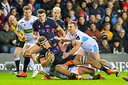 Jamie Ritchie (#6) of Edinburgh Rugby is tackled by the Glasgow defence during the 1872 Cup second leg Guinness Pro14 2019_20 match between Edinburgh Rugby and Glasgow Warriors at BT Murrayfield Stadium, Edinburgh, Scotland on 28 December 2019.