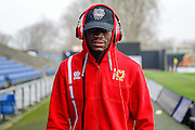 Portrait of Milton Keynes Dons striker (on loan from Fortuna Dusseldorf) Maecky Ngombo (7) wearing his Beats by Dr Dre headphones during the EFL Sky Bet League 1 match between Oxford United and Milton Keynes Dons at the Kassam Stadium, Oxford, England on 11 February 2017. Photo by Dennis Goodwin.