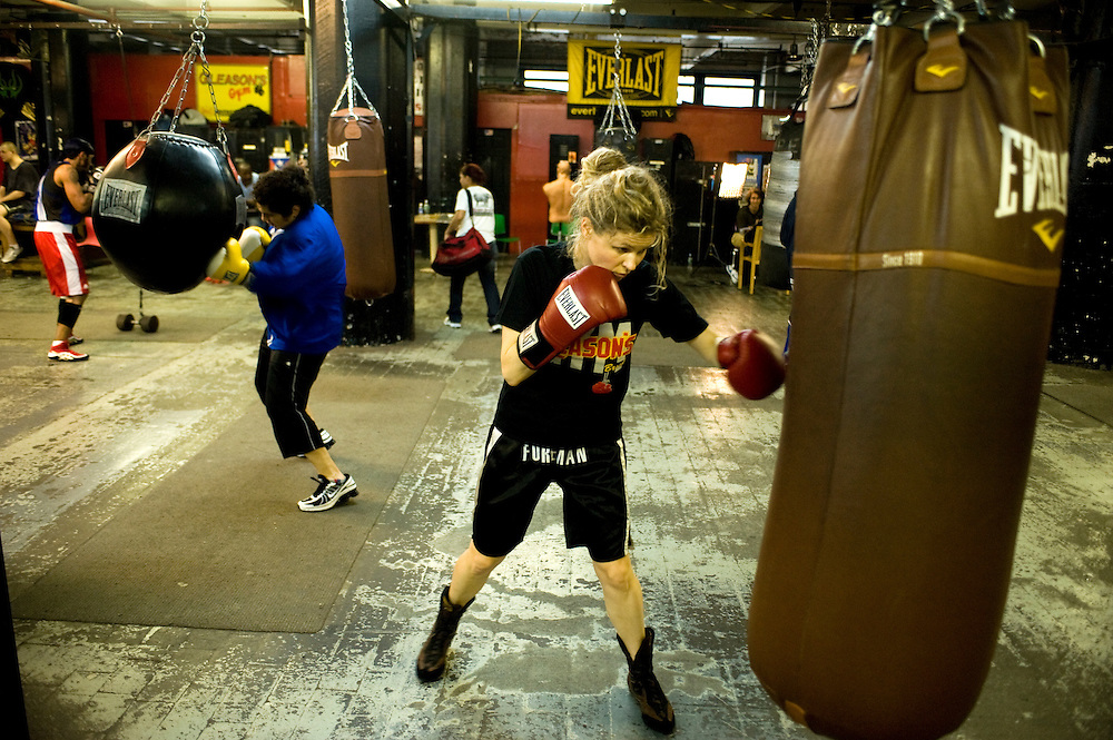 Gleason's Gym, Dumbo, Brooklyn, New York.Many women practice boxing at the gym..