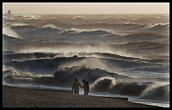 January 3, 2018 - Brighton, United Kingdom -  Brave walkers take to the beach in Brighton,Sussex, as Storm Eleanor hits the UK  (Credit Image: © Stephen Lock/i-Images via ZUMA Press)