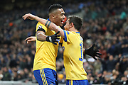 Juventus attacker Paulo Dybala (10) celebrating after scoring goal to make it 1-2 with Juventus defender Alex Sandro (12) during the Champions League match between Tottenham Hotspur and Juventus FC at Wembley Stadium, London, England on 7 March 2018. Picture by Matthew Redman.