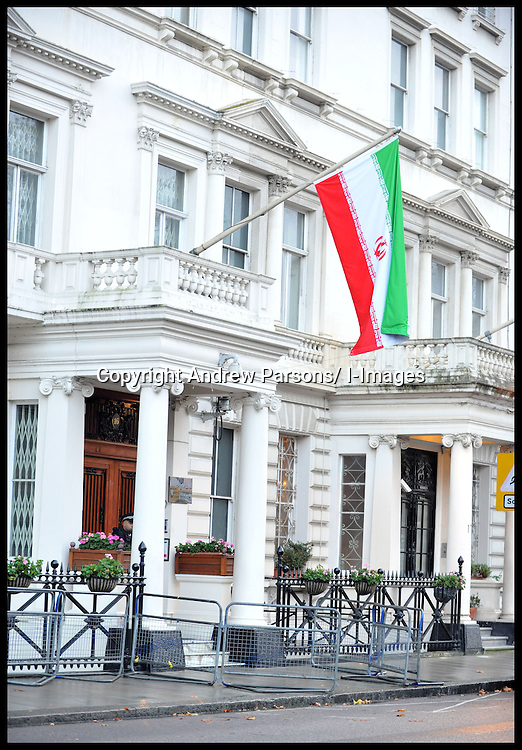 Police officer stands outside the entrance to the Iranian Embassy in Central London, Wednesday November 30, 2011, The Foreign Secretary has ordered that all Iranian diplomats had 48 hours to leave the UK. Photo by Andrew Parsons/ i-Images