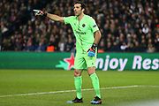 Gianluigi Buffon of Paris Saint-Germain gestures during the Champions League Round of 16 2nd leg match between Paris Saint-Germain and Manchester United at Parc des Princes, Paris, France on 6 March 2019.
