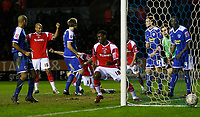 Photo: Steve Bond/Sportsbeat Images.<br /> Leicester City v Charlton Athletic. Coca Cola Championship. 29/12/2007. Patrick McCarthy (CL part obscured) turns to celebrate his equaliser
