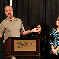 Terry Jackson and his wife, Kathy, right, accepts this years Mclean Award at annual meeting of the Create Foundation.