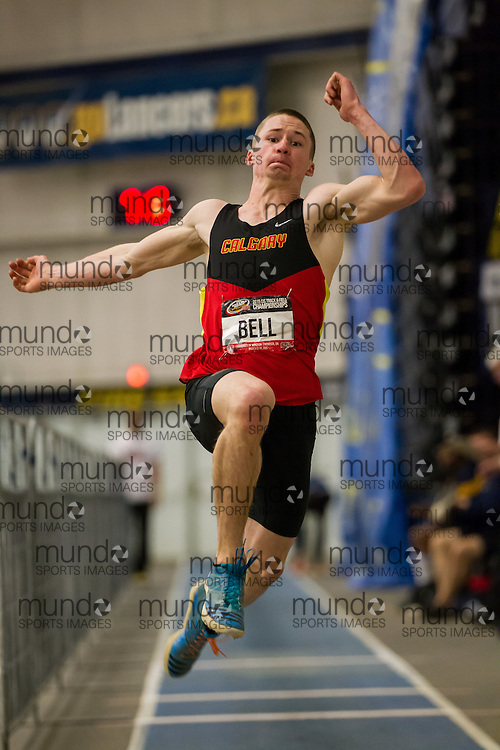 Windsor, Ontario ---2015-03-13--- Ryley Bell of Calgary competes in the long jump  at the 2015 CIS Track and Field Championships in Windsor, Ontario, March 13, 2015.<br /> GEOFF ROBINS/ Mundo Sport Images