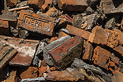 Devastating April 2015 Nepal Earthquake. Bricks from a collapsed building in Panga Village, Kirtipur, Kathmandu Valley. More than a third of the houses in Panga were destroyed, most of them old traditional houses made of brick.