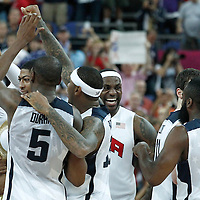 12 August 2012: Team USA celebrates at the end of the 107-100 Team USA victory over Team Spain, during the men's Gold Medal Game, at the North Greenwich Arena, in London, Great Britain.