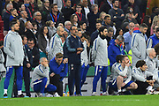 Chelsea manager Maurizio Sarri nervously watches on during the penalty shoot out after the final finished 0-0 after extra time during the Carabao Cup Final match between Chelsea and Manchester City at Wembley Stadium, London, England on 24 February 2019.