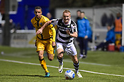 Forest Green Rovers Midfielder, Marcus Kelly (10) gets away from Sutton United Midfielder, Craig Eastmond (15) during the Vanarama National League match between Sutton United and Forest Green Rovers at Gander Green Lane, Sutton, United Kingdom on 14 March 2017. Photo by Adam Rivers.