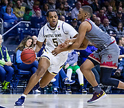 SOUTH BEND, IN - JANUARY 12: D.J. Harvey #5 of the Notre Dame Fighting Irish drives to the basket against Wynston Tabbs #5 of the Boston College Eagles at Purcell Pavilion on January 12, 2019 in South Bend, Indiana. (Photo by Michael Hickey/Getty Images) *** Local Caption *** D.J. Harvey; Wynston Tabbs