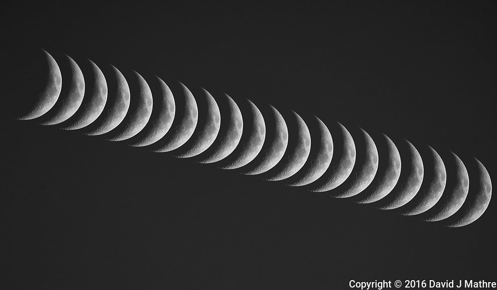 Waxing Crescent Moon. Composite of 20 images taken with a Nikon D800 camera and 600 mm f/4 VR lens (ISO 400, 600 mm, f/5.6, 1/1250 sec).