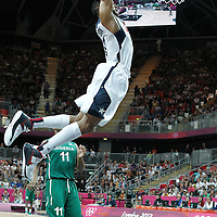 02 August 2012: USA Russell Westbrooks goes for the dunk during 156-73 Team USA victory over Team Nigeria, during the men's basketball preliminary, at the Basketball Arena, in London, Great Britain.