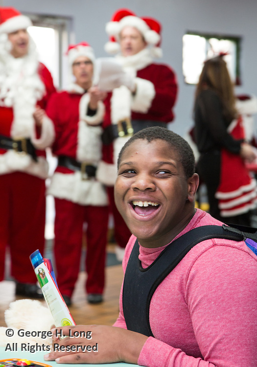 Happy Santa delivery of toys and gifts to residents and employees of Padua Community Services in Belle Chasse, Louisiana on December 4, 2017; Louisiana Restaurant Association