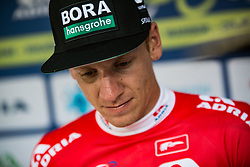 Best in sprint classification Pascal Ackermann (GER) of Bora Hansgrohe celebrates in red jersey at trophy ceremony after 1st Stage of 26th Tour of Slovenia 2019 cycling race between Ljubljana and Rogaska Slatina (171 km), on June 19, 2019 in  Slovenia. Photo by Vid Ponikvar / Sportida