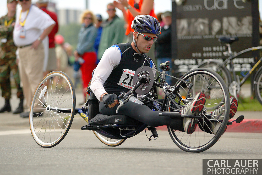 July 4th, 2006:  Anchorage, Alaska - David Randall (212), enters turn one of the 5k handcycle event at the 26th National Veterans Wheelchair Games..
