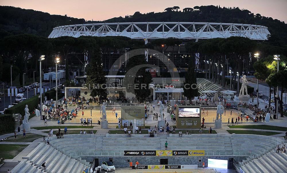 Roma, 19 giugno 2013<br /> Beach Volley Swatch FIVB World Tour - Smart Grand Slam Rome 2013. Foro Italico.<br /> Giorno 2 - Panoramiche degli impianti del Foro Italico.<br /> foto di Simone Ferraro / GMT