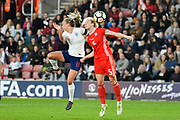 Toni Duggan (11) of England battles for possession with Rhiannon Roberts (5) of Wales during the FIFA Women's World Cup UEFA Qualifier match between England Ladies and Wales Women at the St Mary's Stadium, Southampton, England on 6 April 2018. Picture by Graham Hunt.