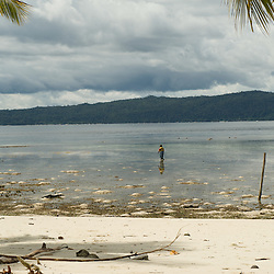 Woman collecting crabs in the shallow water at low tide on the reef top.