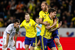 November 20, 2018 - Stockholm, Sweden - Victor Lindelof (R) of Sweden celebrates his goal with Andreas Granqvist (C) and Viktor Claesson during the UEFA Nations League B Group 2 match between Sweden and Russia on November 20, 2018 at Friends Arena in Stockholm, Sweden. (Credit Image: © Mike Kireev/NurPhoto via ZUMA Press)