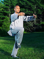 Shaolin monk practicing Qi Gong outdoors in the nature