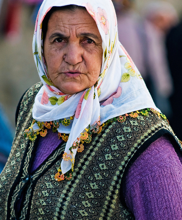 April 2008 Ankara Turkey - traditional old Turkish woman out in the street