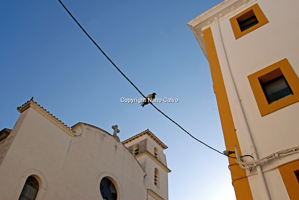 Winter scenes of Dalt Vila and La Marina area, where thousands of people crowd the streets during the summer season