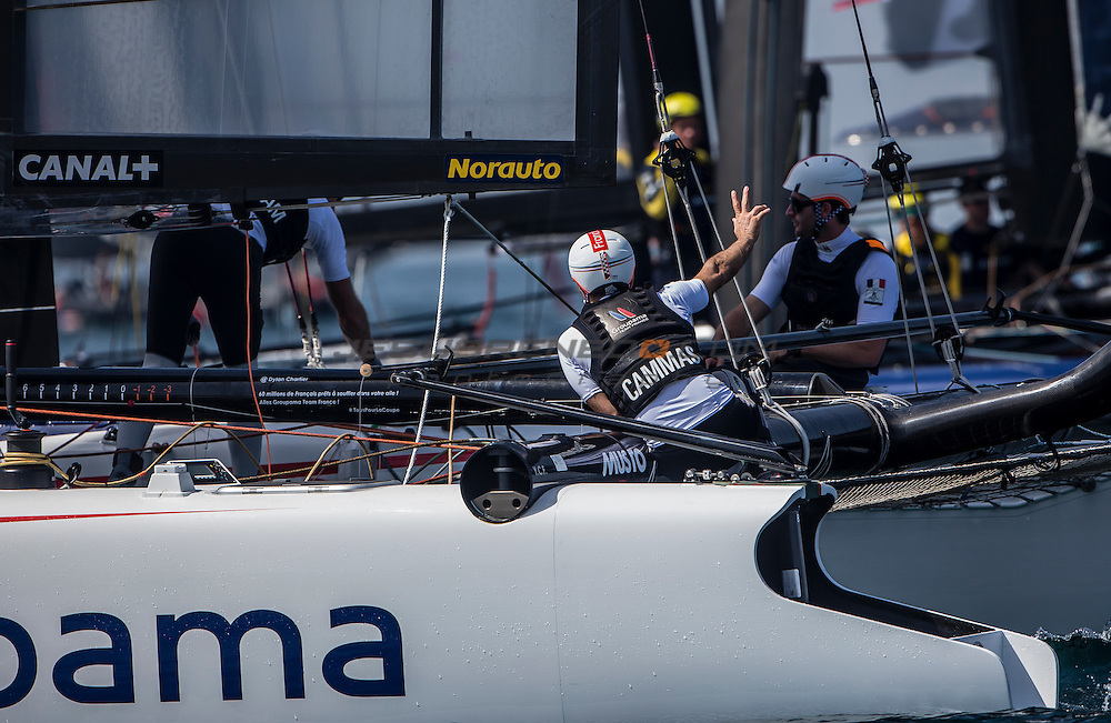 Louis Vuitton America's Cup World Series 2016 Oman.Groupama Team France,Adam Minoprio,Thierry Fouchier,Devan Lebihan,Thomas Le Breton, Herve Cunningham.Muscat ,The Sultanate of Oman.Image licensed to Jesus Renedo/Lloyd images/Oman Sail