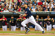 Minnesota Twins 1st baseman Justin Morneau bats against the Oakland Athletics on July 13, 2012 at Target Field in Minneapolis, Minnesota.  The Athletics defeated the Twins 6 to 3.  © 2012 Ben Krause