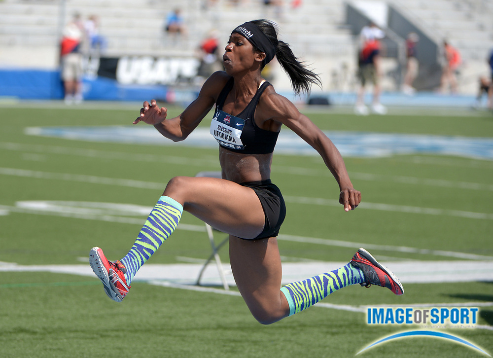 Jun 20, 2013; Des Moines, IA, USA; Blessing Ufodiama places fourth in the womens triple jump in a wind-aided 44-7 1/2 (13.60m) in the 2013 USA Championships at Drake Stadium.