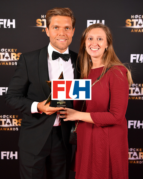 BERLIN, GERMANY - FEBRUARY 05:  Goalkeeper of the year Vincent Vanasch  of Belgium and his wife during the Hockey Star Awards night at Stilwerk on February 5, 2018 in Berlin, Germany.  (Photo by Stuart Franklin/Getty Images For FIH)