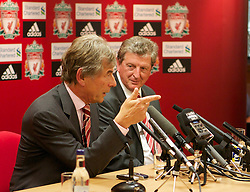 LIVERPOOL, ENGLAND - Thursday, July 1, 2010: Liverpool Football Club's new manager Roy Hodgson with Chairman Martin Broughton during a press conference at Anfield. (Pic by David Tickle/Propaganda)