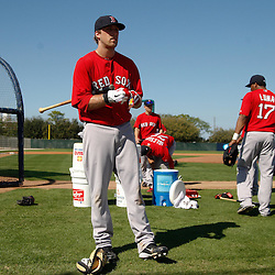 February 19, 2011; Fort Myers, FL, USA; Boston Red Sox first baseman Lars Anderson (78) prepares for batting practice during spring training at the Player Development Complex.  Mandatory Credit: Derick E. Hingle
