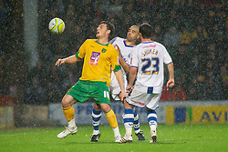 NORWICH, WALES - Saturday, November 14, 2009: Tranmere Rovers' Marlon Broomes  and Chris Shuker attempt to stop Norwich City's Chris Martin in the pouring rain during the League One match at Carrow Road. (Pic by David Rawcliffe/Propaganda)